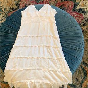 Anthropologie White cotton halter dress